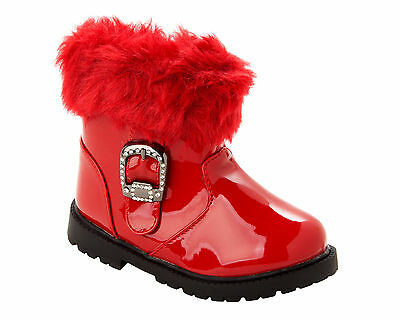 GIRLS RED PATENT FAUX FUR TRIM DIAMANTE CASUAL WINTER ZIP ANKLE BOOTS SIZE 3-7