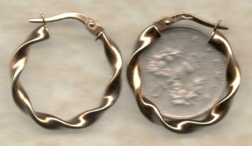 real 9ct yellow gold twist bamboo diamond cut dangling creole hoop earring drops