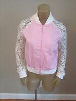 Bongo Pink Lace Varsity Jacket Juniors Large L