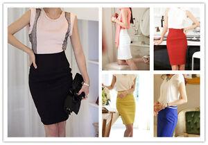 New-Women-039-s-High-Waisted-Plain-Midi-Pencil-Bodycon-Stretch-Work-Office-Skirt