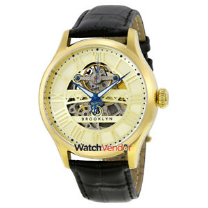 Brooklyn-Bridgewater-Skeleton-Mens-Automatic-Gold-Tone-Dial-Mens-Watch