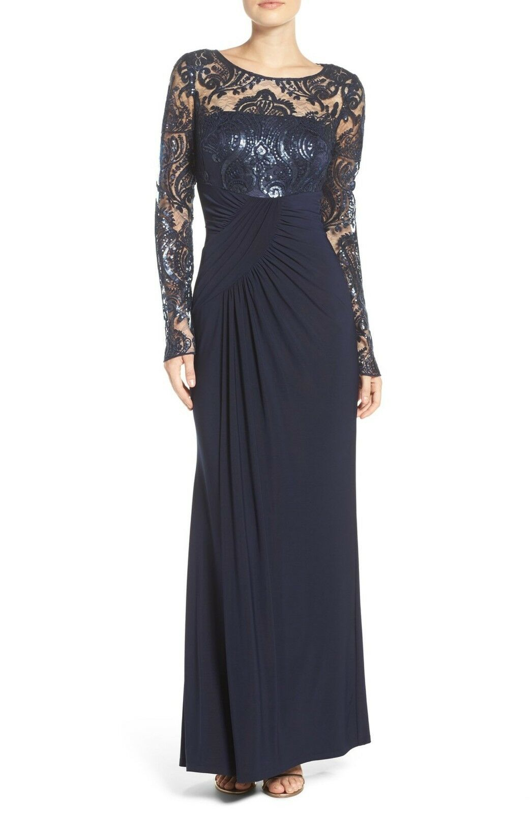 ELIZA J Draped Long Sleeve Sequin Gown, Navy, size 4, 4, 4, MSRP  208.  DL1029 65d78c