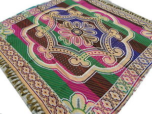GRAND-TAPIS-INDIEN-A-2-FACES-MOTIFS-INDIENS-FAIT-MAIN-TRES-FORT-INDE-COTON