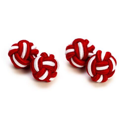 1 pares seidenknoten//gemelos//tela nodos rojo blanco colonia fan camisa