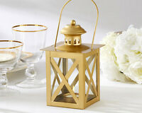12 Gold Tea Light Candle Lantern Engagement 50th Anniversary Wedding Favor Decor