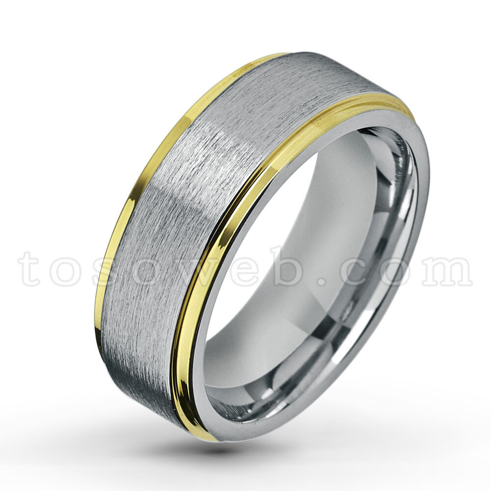Men's 8mm 2-Tone Tungsten Ring w  Yellow gold IP Edge & Brushed Center TS1322