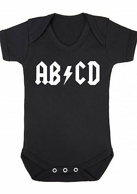 bebé, niña, ABCD Rock Metal Gótico Negro Camiseta,body,Pelele,regalo , body