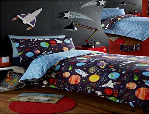 Kidz Club Planets Double Bed Duvet cover and 2 Pillowcase Bed Set Bedding for Bo