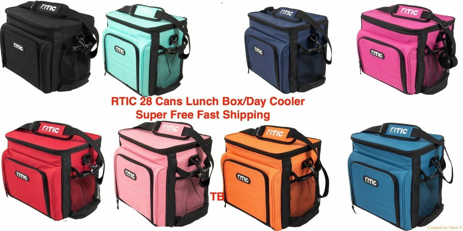 RTIC 8 Can Purple Day Cooler New Model Lunchbox Soft Pack 24 Hour Cold Lunch Box