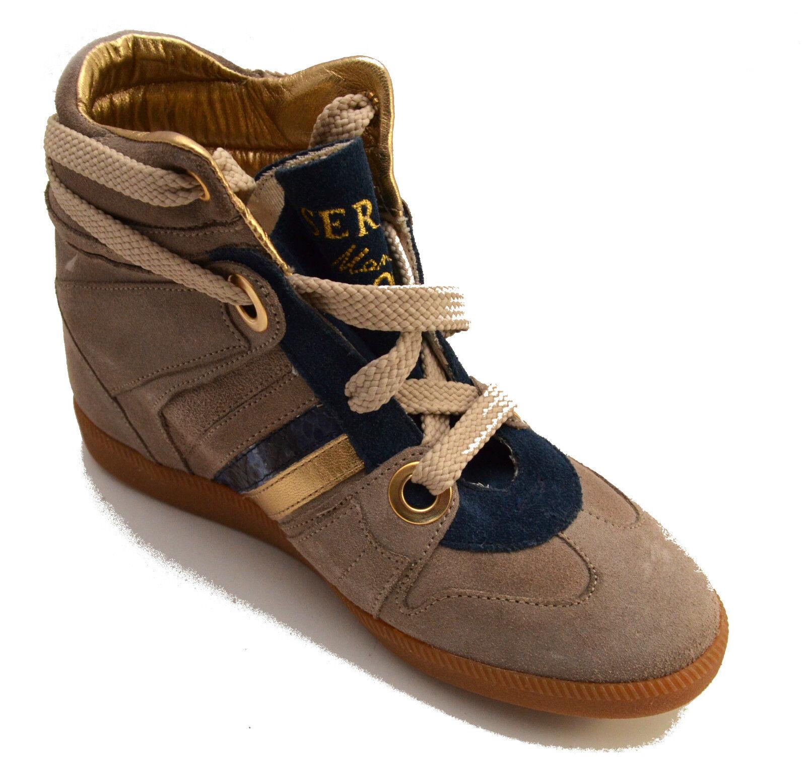 Moda barata y hermosa Grandes zapatos con descuento Serafini scarpe sneakers alte pelle shoes Donna beige Zeppa interna Women 2727