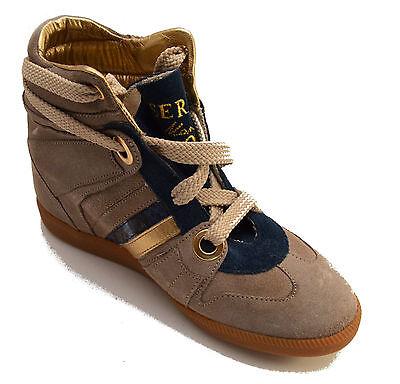 Ambizioso Serafini Scarpe Sneakers Alte Pelle Shoes Donna Beige Zeppa Interna Women 2727 Lucentezza Luminosa