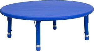 45 39 39 Round Height Adjustable Blue Plastic Preschool Activity Table
