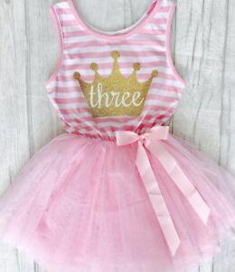 Anniversaire-Filles-Rose-Clair-robe-tutu-Cadeau-Fete-Princesse-petite-fille-robe
