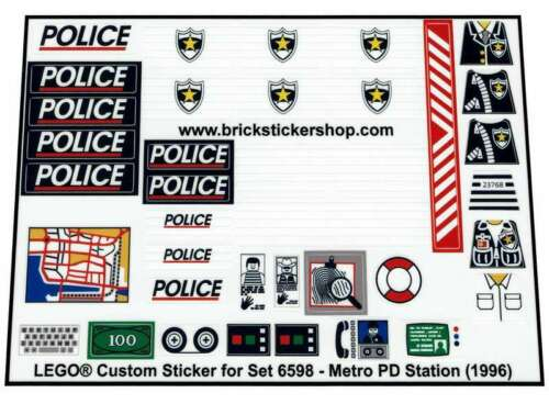 Metro PD Station Precut Custom Replacement Stickers voor Lego Set 6598 1996