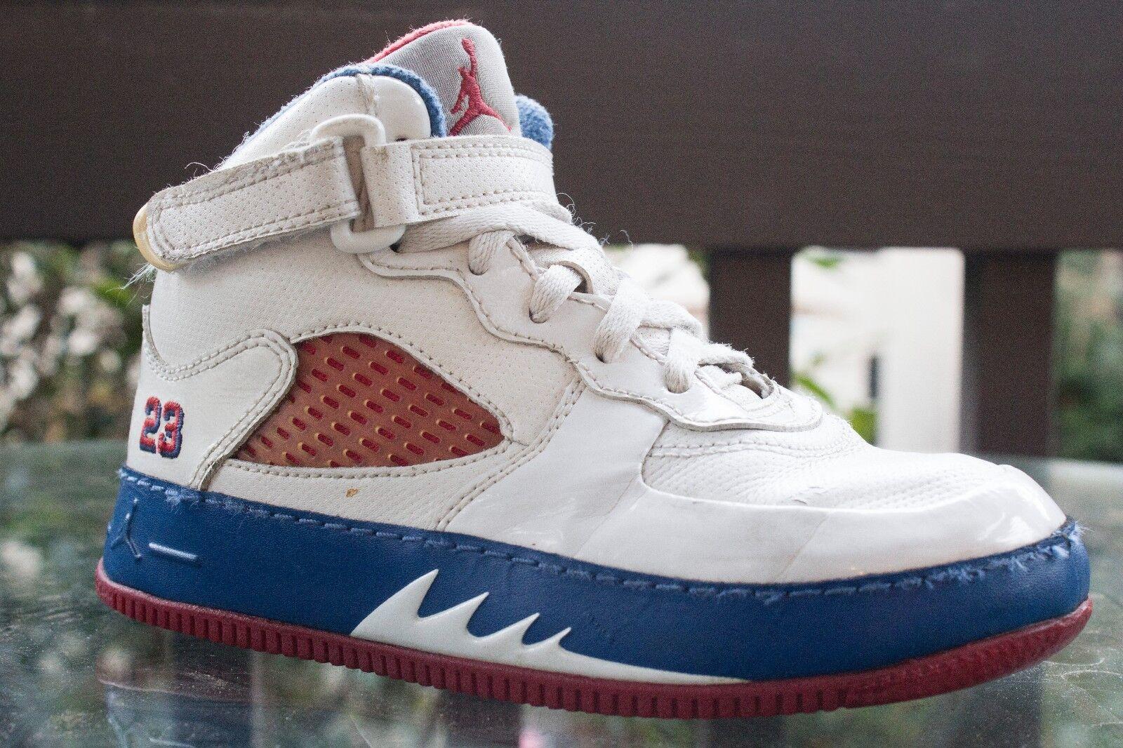 Nike Air Jordan Retro V White / Varsity Red / Blue 318610 162 Kids Sz 13C