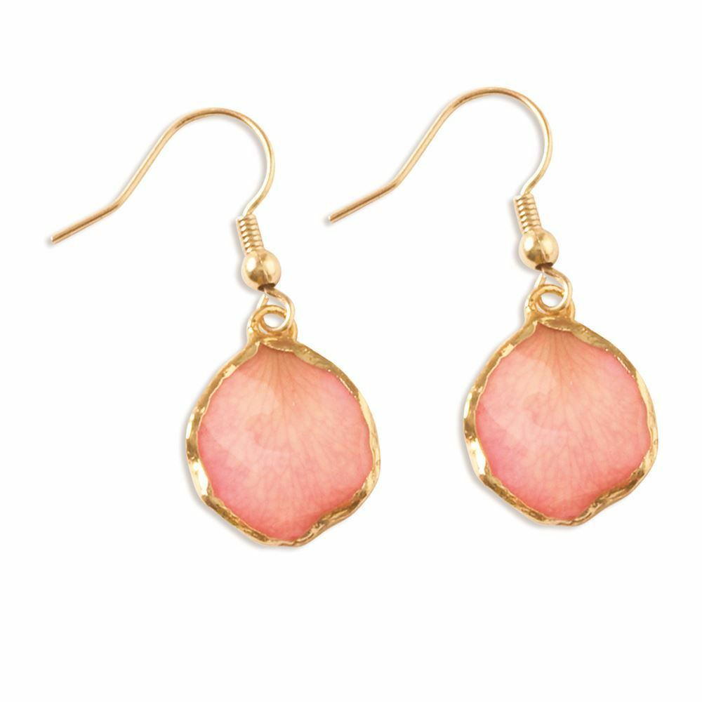 Lacquer Dipped 24K gold Trim Pink pink Petal Dangle Earrings MSRP  121