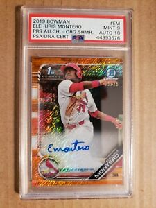 ELEHURIS-MONTERO-2019-Bowman-Chrome-Auto-Orange-Shimmer-Refractor-25-PSA-9-10