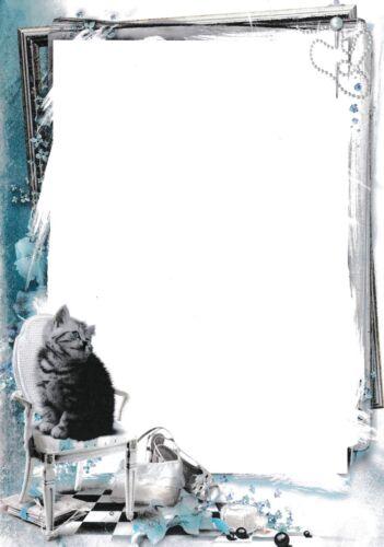 100g//qm NEU 20 Blatt Briefpapier Motivpapier mit Katzen-Motiv