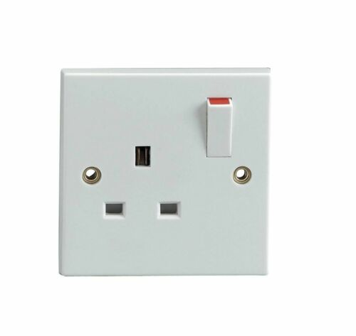 Blanc Simple 1 Gang Prise Electric Wall Socket Switched Square EDGE 13 Amp Vis