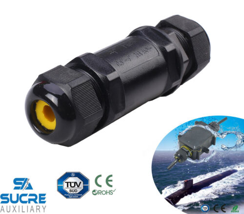 24A 450V 5 Pin IP68 Waterproof Electrical Cable Wire Connector 4M Depth 4-14mm