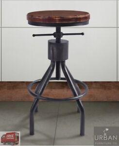 Image Is Loading Rustic Industrial Bar Stool Metal Wood Top Adjustable