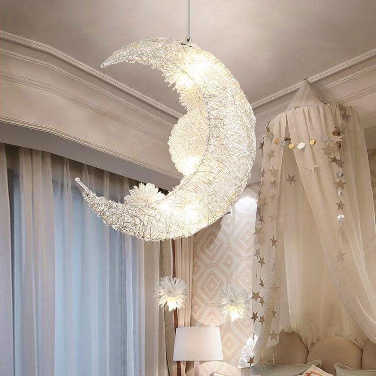 Details About Moon Stars Led Ceiling Light Chandelier Kids Bedroom Lighting Decoration Uk