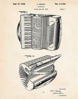 Accordion Designed For Hohner 1938 Patent Drawing Art Poster Print Gift Ideas