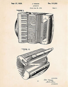 Details About Accordion Designed For Hohner 1938 Patent Drawing Art Poster Print Gift Ideas