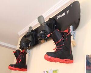 2-Silver-Snowboard-Hanger-Skateboard-Holder-Longboard-Display-Storage-Wall-Mount