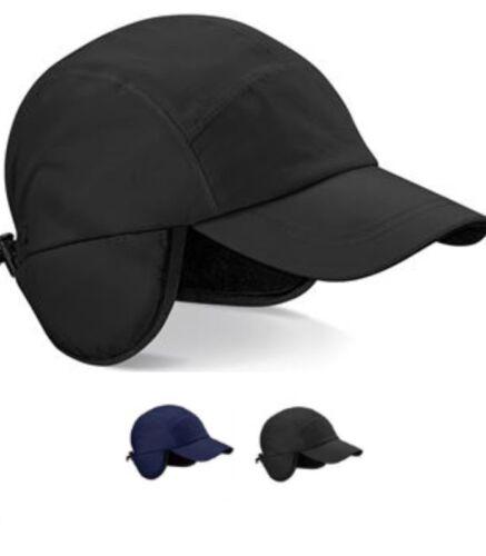 BLACK or Blue Waterproof Fleece Lined Baseball Hat Cap Visor with Ear Flaps
