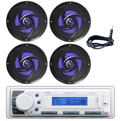 "Antenna//Cover PLMR20W Boat Receiver Pyle 5.25/"" 180W Speakers w// Built-in LEDs"