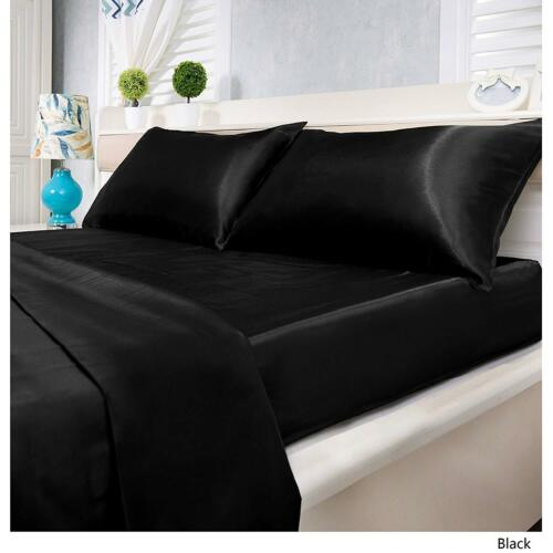 Satin Silk 4 PC Sheet Set 600 Thread Count Twin Full Queen King Size All Colors