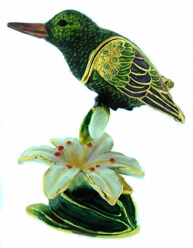 RUFUS THE HUMMINGBIRD ~ ENAMEL/& JEWELED TRINKET BOX #3726