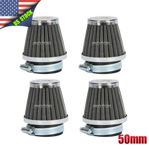 4pcs 50mm Air Filters Pod For Honda CB750 Suzuki GS550 Kawasaki KZ650 US