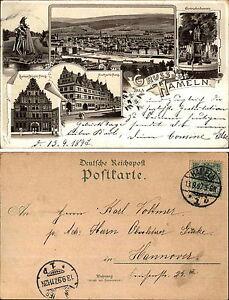 1897-Stempel-HAMELN-auf-Lithographie-Litho-Mehrbildkarte-nach-Hannover-gelaufen