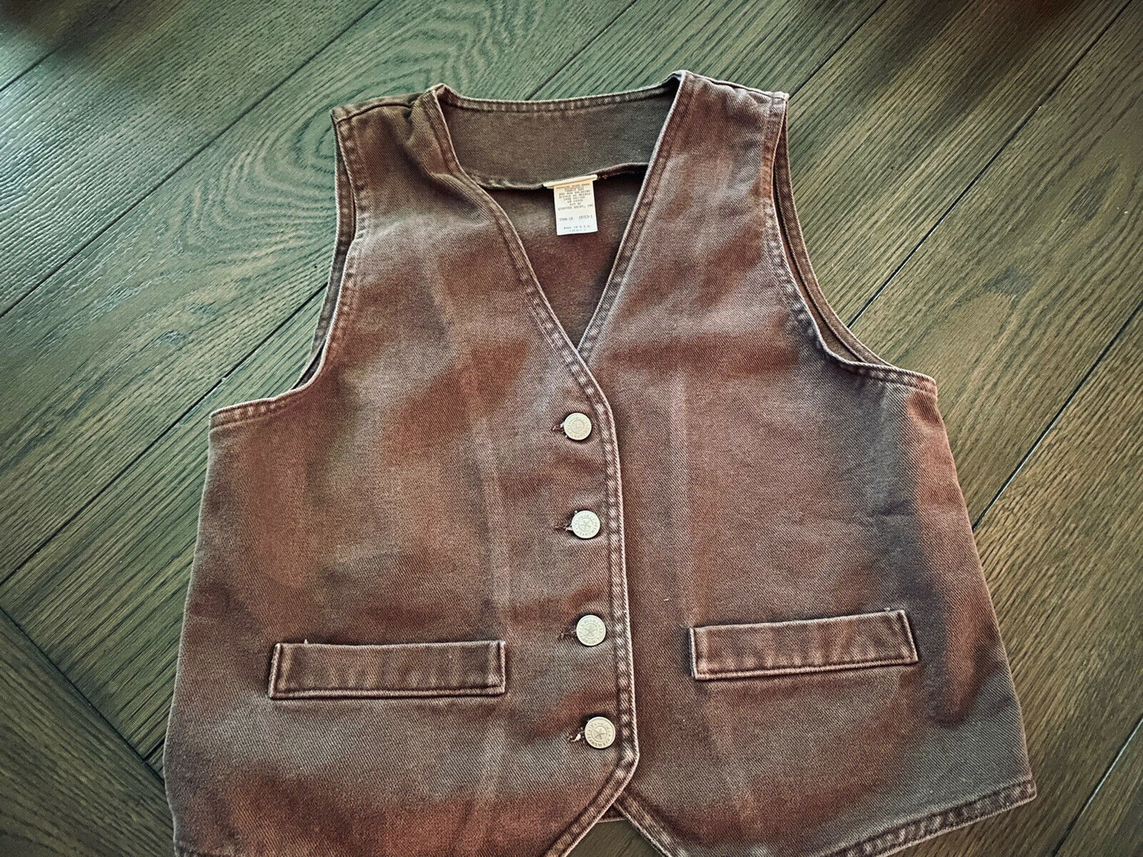 Vintage Vivaldi Jeanswear Brown Button Up Vest Made in the USA Sz S (O1)