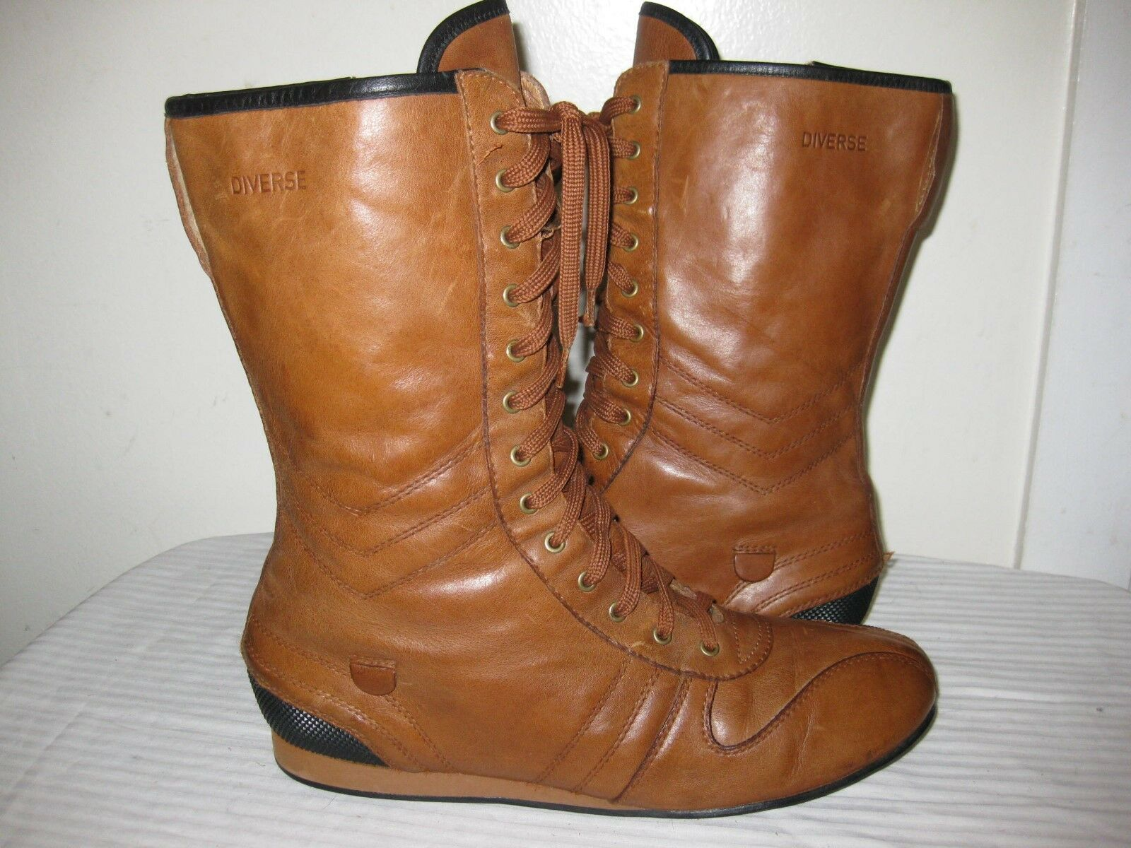 DIVERSE Outdo Leather Brown Combat   Trainers Boots Men shoes Size 41   9.5