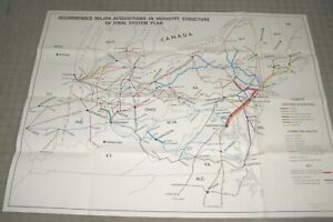 """1975 RECOMMENDED ACQUISITIONS FINAL US Railway Association 34"""" x 25"""" Folded Map"""