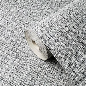 Wallpaper-plain-textured-modern-gray-black-faux-textile-cloth-lines-texture-roll