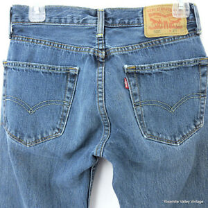 Levis-505-Mens-29x31-5-Denim-Blue-Straight-Jeans-Paint-On-Leg
