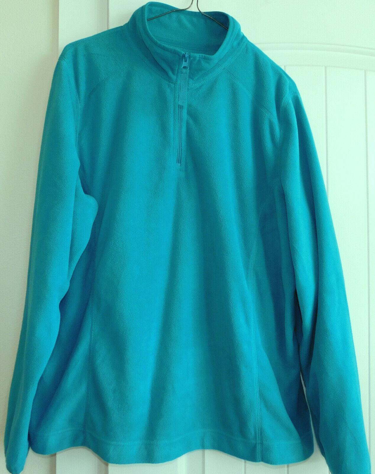 Women's Made For Life 1/4 Zip Fleece Pullover Jacket Top TURQUOISE BLUE XXL