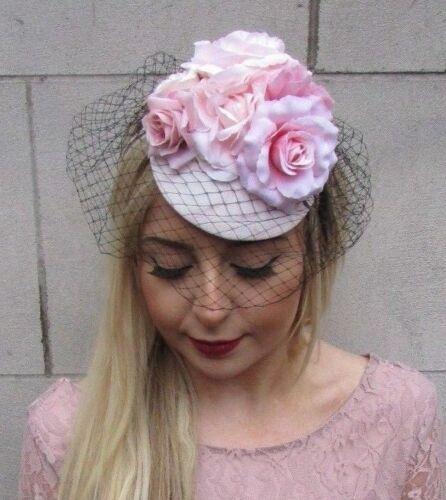 Black Blush Light Pink Flower Birdcage Veil Flower Fascinator Races Hat Vtg 4962