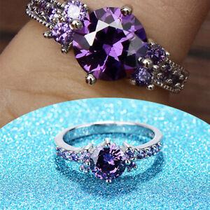 Women-Round-Cut-Purple-Amethyst-Gem-Wedding-Band-Ring-Gift-Size-6-9-Accessory