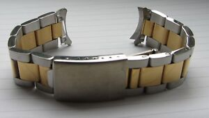 19mm-2-Tone-Stainless-Steel-Oyster-Band-Bracelet-Strap-TAG-Rolex-Curved-Ends