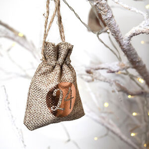 Noel-Calendrier-de-l-039-avent-decoration-arbre-pendant-sacs-pochettes-sacs-cadeau