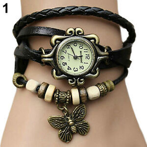 WOMEN-RETRO-BRAIDED-LEATHER-BAND-BUTTERFLY-BEADS-BRACELET-QUARTZ-WRISTWATCH-B82K