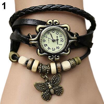 Artificial Leather Womens Bracelet Butterfly Wristwatch Quartz Wrist Watch BD1U