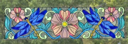 WICOART WINDOW COLOR STICKER CLING FAUX STAINED GLASS LIBELLULES 40X10 CM 16X4