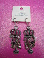 Crown Charm Dangle Earrings 2 Inches Long