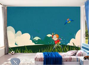 3D Gras Junge Drachen Himmel 8 Tapete Wandgemälde Tapeten Bild Familie DE Summer